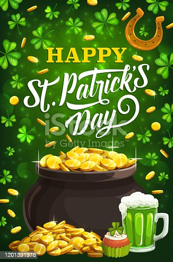istock Patricks day shamrock clover, golden coins and ale 1201391978