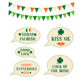 Patrick's day speech bubbles and flags. Vector template for Saint Patricks day greeting card, banner, poster, flyer, postcard, t-shirt.