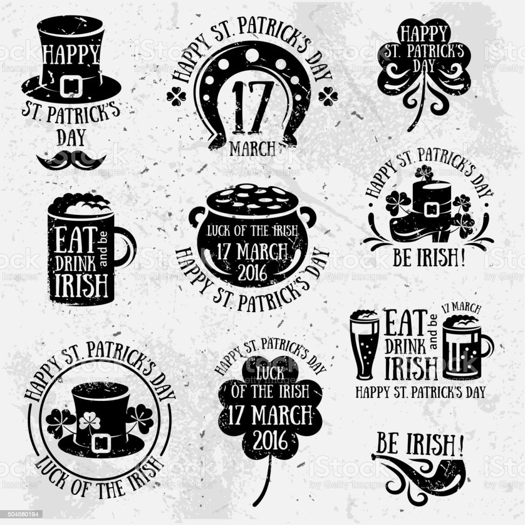 Patricks Day Typography Retro Emblems vector art illustration