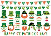 Patricks Day vector hats, mustaches and beards
