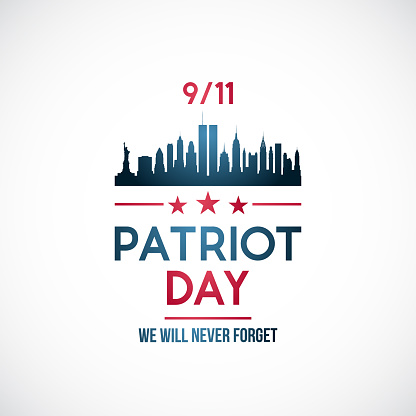 911, Patriot day background. Patriot day vector banner with New York skyline and text Never forget.