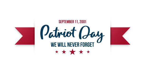 9/11 Patriot Day background. USA Patriot Day horizontal banner with lettering We will never forget. September 11, 2001. Vector design template . 9/11 Patriot Day background. USA Patriot Day horizontal banner with lettering We will never forget. September 11, 2001. Vector design template . patriotic stock illustrations