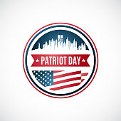 istock Patriot Day badge template. September, 11th remembrance day in USA. We will never forget. Vector illustration 1269280114