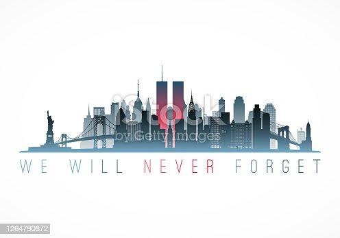 istock Patriot Day banner. New York city skyline with Twin Towers. September 11, 2001 National Day of Remembrance. World Trade Centre. Vector illustration. 1264790872