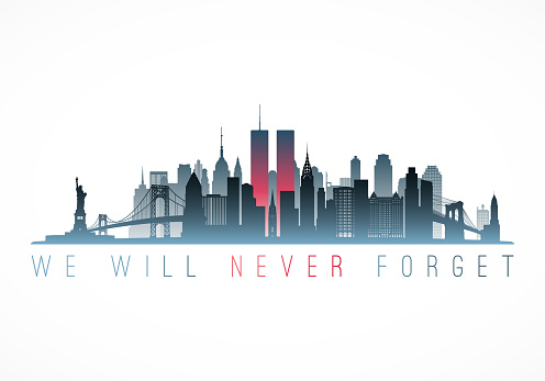 Patriot Day banner. New York city skyline with Twin Towers. September 11, 2001 National Day of Remembrance. World Trade Centre. Vector illustration.
