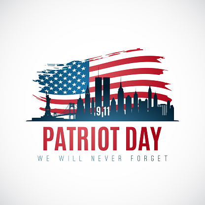 Patriot day banner with New York skyline, American flag and text We will never forget. September 11, 2001. Vector illustration.