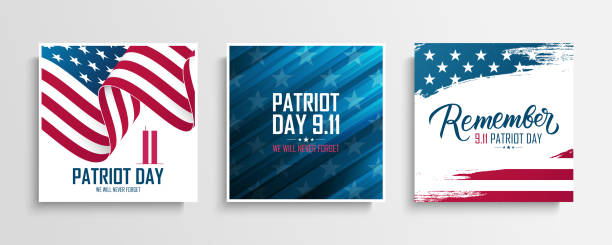 USA Patriot Day cards set. We will never forget. United States National Day of Prayer and Remembrance for the Victims of the Terrorist Attacks on September 11. vector art illustration