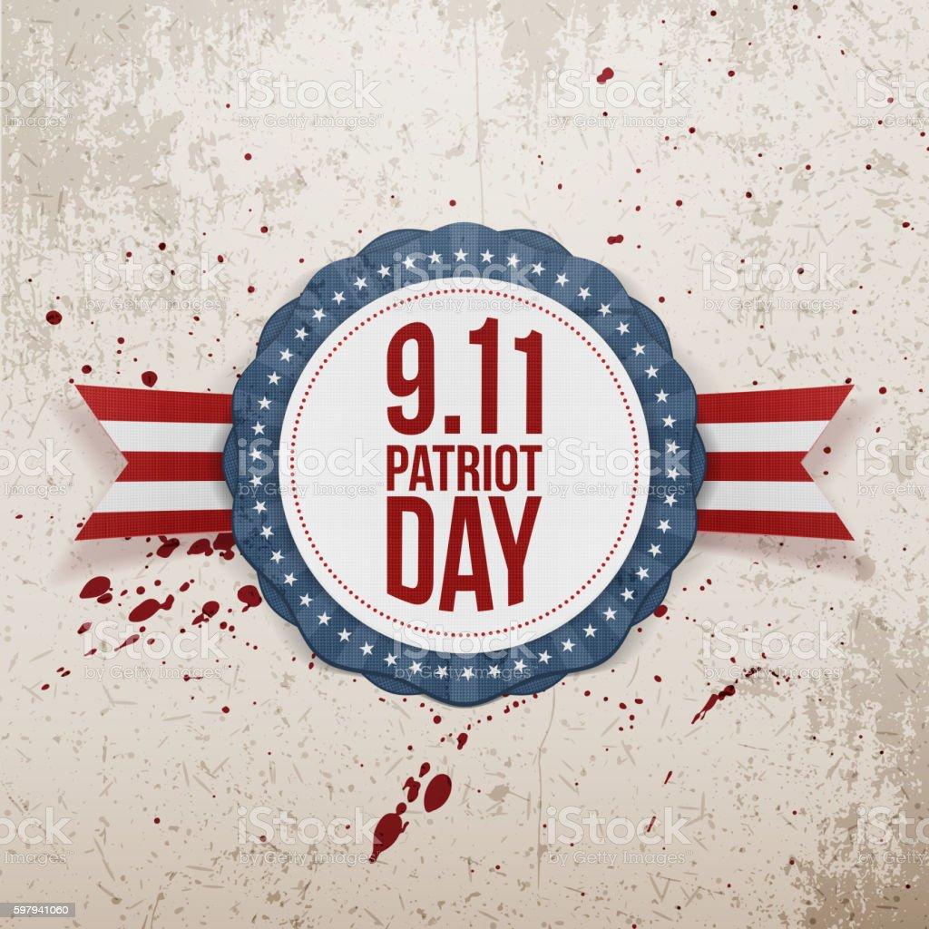 Patriot Day circle Badge with Ribbon ilustração de patriot day circle badge with ribbon e mais banco de imagens de arranhado royalty-free