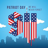 USA 9.11 Patriot Day greeting card. Digits made of American flag ribbons. Vector illustration.