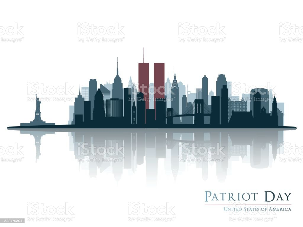 Patriot day. New York view before september 11 2001. vector art illustration