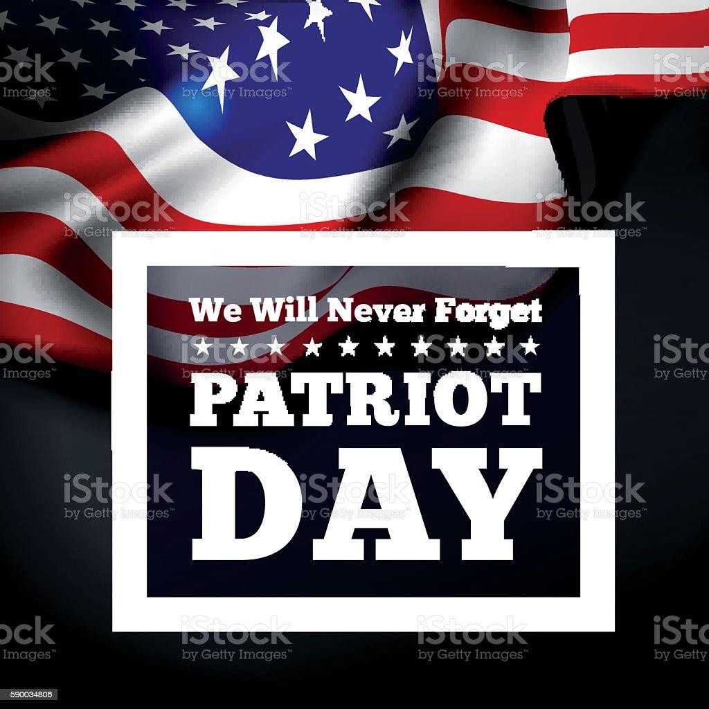 Patriot Day, September 11 waving flag. vector art illustration