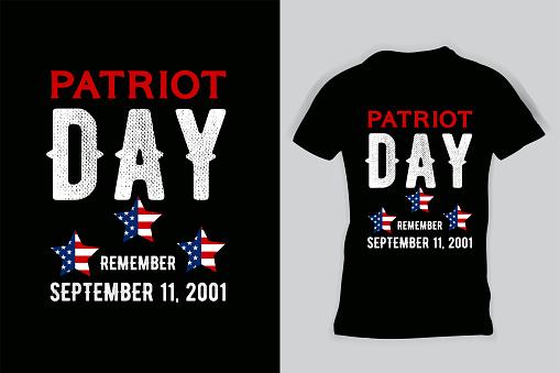 Patriot Day Typography Nine Eleven T-shirt.