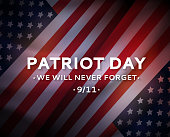 Patriot Day USA 9/11 poster, September 11. We will never forget. Vector illustration. EPS10