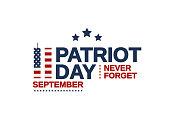 Patriot Day USA poster, September 11. Never forget. Vector illustration.