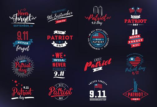 Patriot day vector typographic illustration