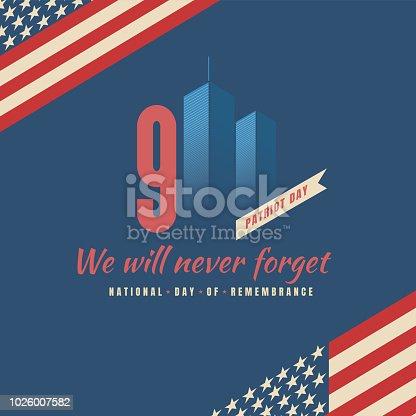 Patriot day vector design The National September 11 Memorial