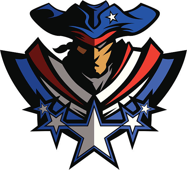 Patriot Mascot with Stars and Hat Graphic Vector Illustration Colonial American Patriot Graphic Vector Image mascot stock illustrations