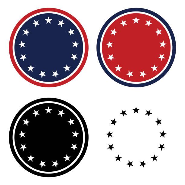 patriotyczne 13 gwiazdy circle set isolated ilustracja wektor - kształt gwiazdy stock illustrations