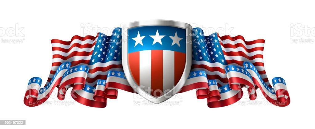 Fundo americano patriótico com escudo - Vetor de 4 de Julho royalty-free