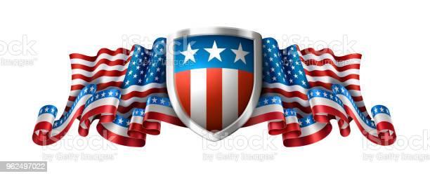Vetores de Fundo Americano Patriótico Com Escudo e mais imagens de 4 de Julho