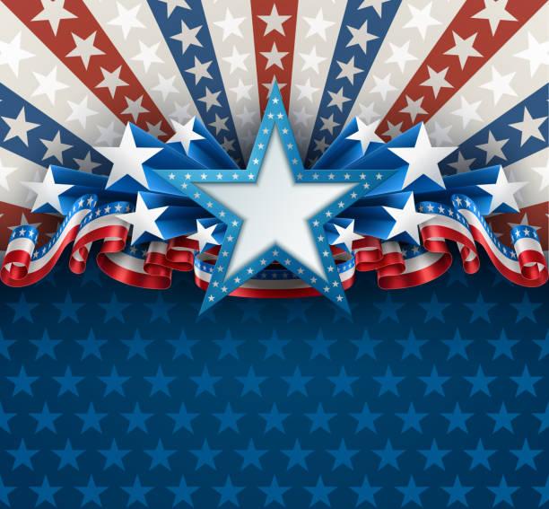 愛國美國背景與明星 - independence day 幅插畫檔、美工圖案、卡通及圖標