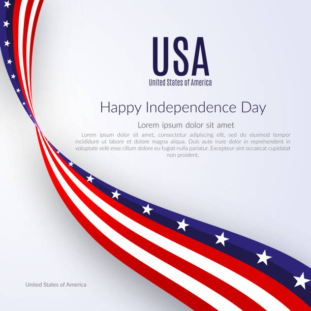 Patriotic American background with text Happy Independence Day USA Background with the ribbon of the American flag on Independence Day Patriotic American theme with the flag on Independence Day Vector Patriotic American background with text Happy Independence Day USA Background with the ribbon of the American flag on Independence Day Patriotic American theme with the flag on Independence Day Vector independence day holiday stock illustrations