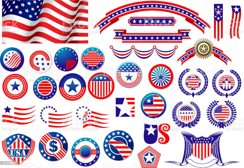 Patriotic American badges and labels vector art illustration