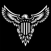 Patriotic American bald eagle, clean looking black and white vector makes a bold statement and designed for easy editing, wings spread looking to one side, holding stars and stripes shield, sharp illustration