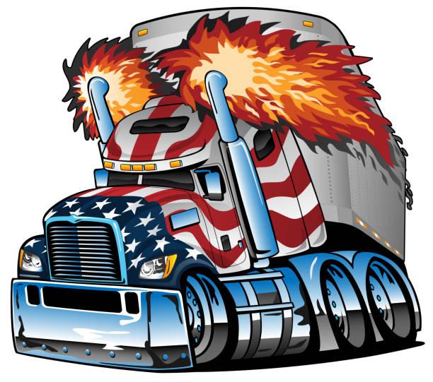 bildbanksillustrationer, clip art samt tecknat material och ikoner med patriotiska amerikanska flaggan semi lastbil traktor släpvagn big rig tecknad isolerad vektor illustration - traktor pulling