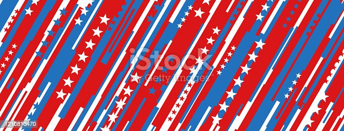 Patriotic stripes abstract horizontal background.