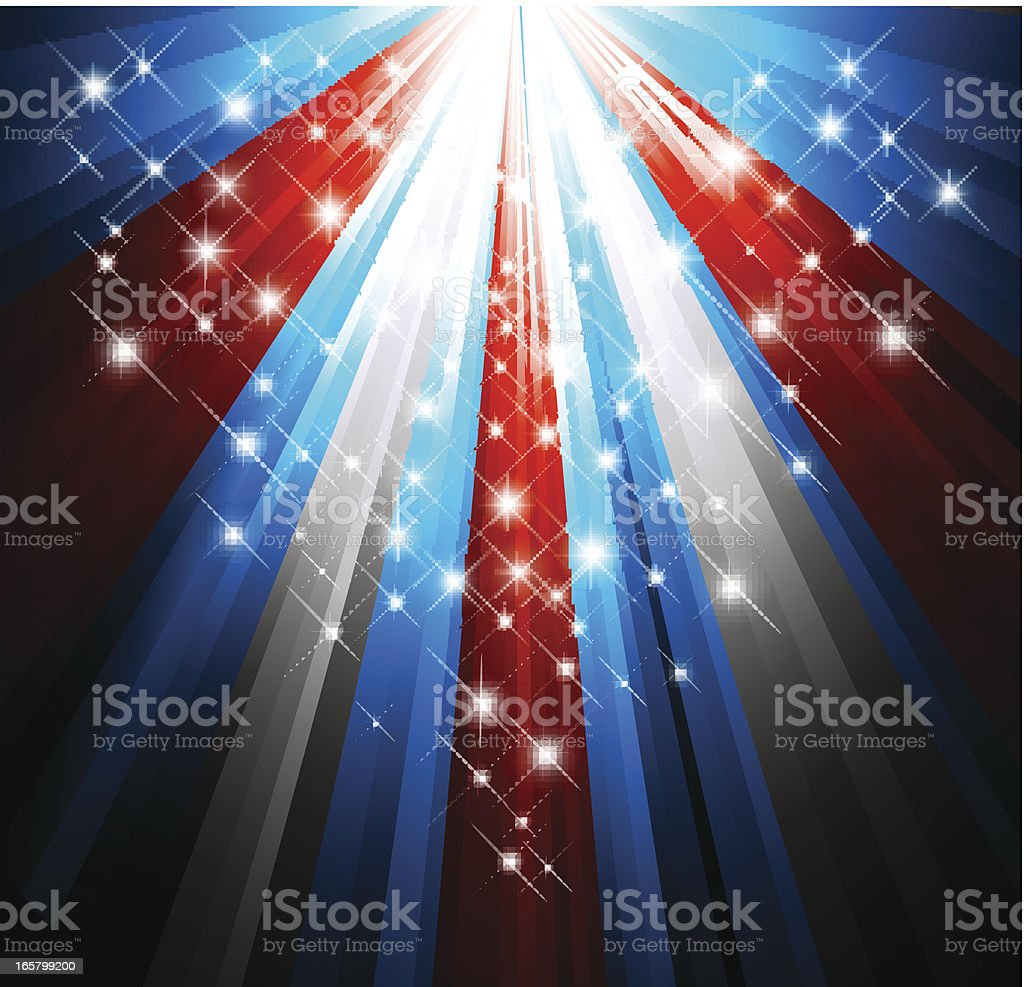 Patriotic background of red, white and blue vector art illustration