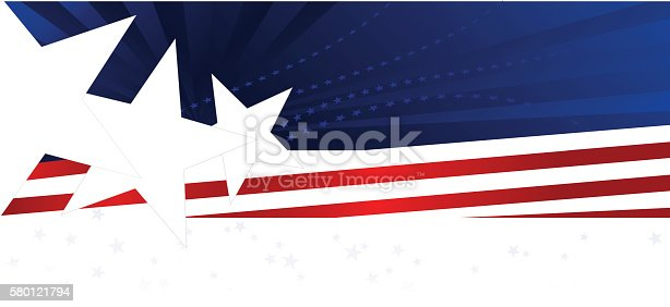 Patriotic or Fourth of July background or banner with stars, stripes. Red, white blue. Copy space.