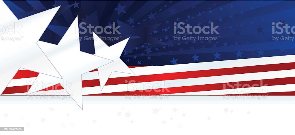 Patriotic Background or Banner: Red, White, Blue with Stars, Stripes vector art illustration