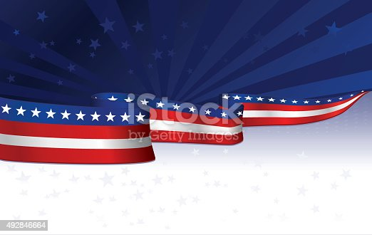 Patriotic or Fourth of July background with stars, stripes. Copy space.