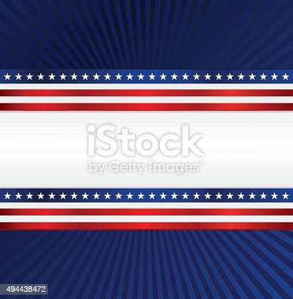 istock Patriotic Background: Red, White, Blue with Stars, Stripes 494438472