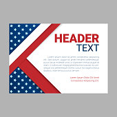 USA patriotic background. Vector illustration with text, stripes and stars for posters, flyers, decoration in colors of american flag. Colorful template for National celebrations, political campaigns