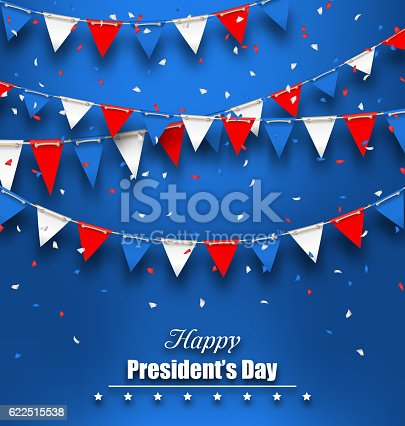 Patriotic Background with Bunting Flags for Happy Presidents Day