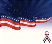 Patriotic or 4th of July background. ***OPTIONAL patriotic award, awareness ribbon. Copy space.