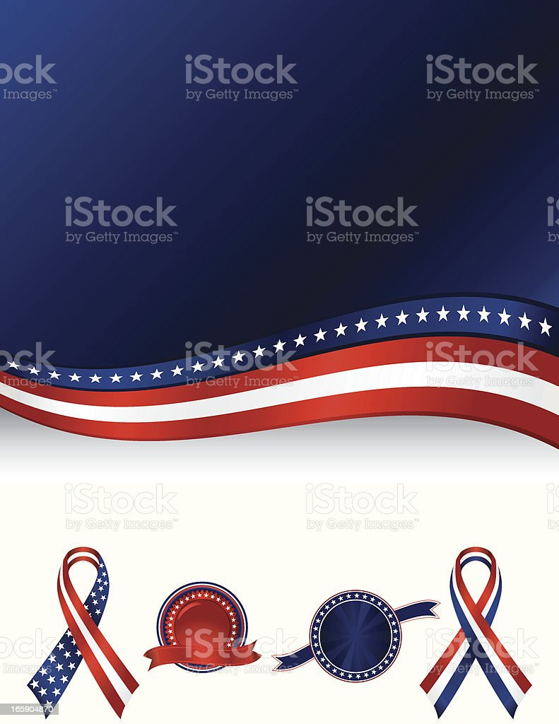 Patriotic Background with Optional Awareness Ribbons, Stickers: Red, White, Blue royalty-free stock vector art