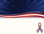 Patriotic, July 4 background, stars overlay. OPTIONAL awareness ribbon. Copy space.