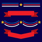 Vector illustration of various patriotic themed banners in flat style.