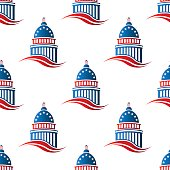 Patriotic Capitol building seamless pattern background