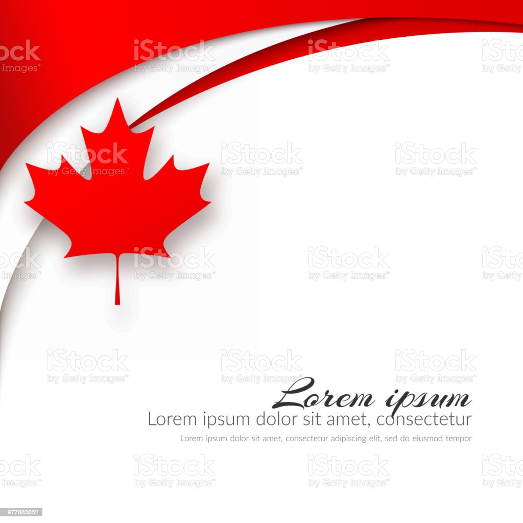 Patriotic Card With The Theme Canada Flag Wavy Red Lines And A Maple