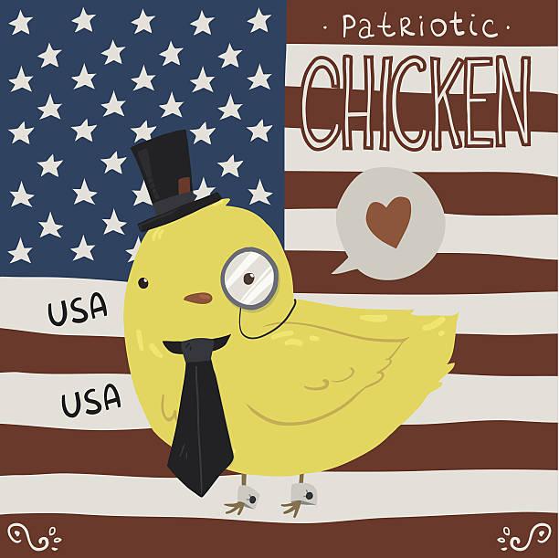 Patriotic chicken greeting card. vector art illustration