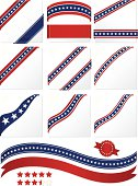Patriotic shiny corner ribbons, tags, labels, banners, stars. Red, white, blue. 45-degree angles, more, stickers, stars (5-star ratings).