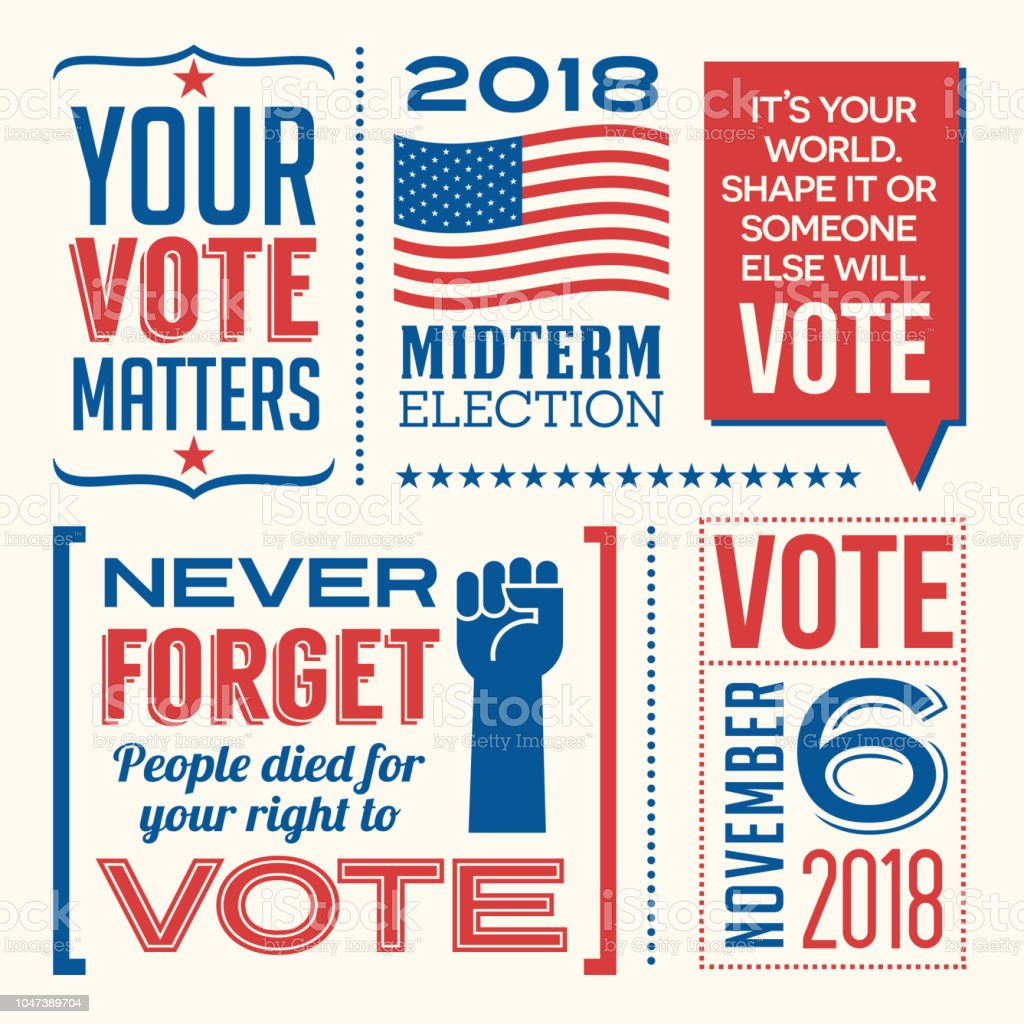 Patriotic design elements and motivational messages to encourage voting in United States 2018 election. vector art illustration