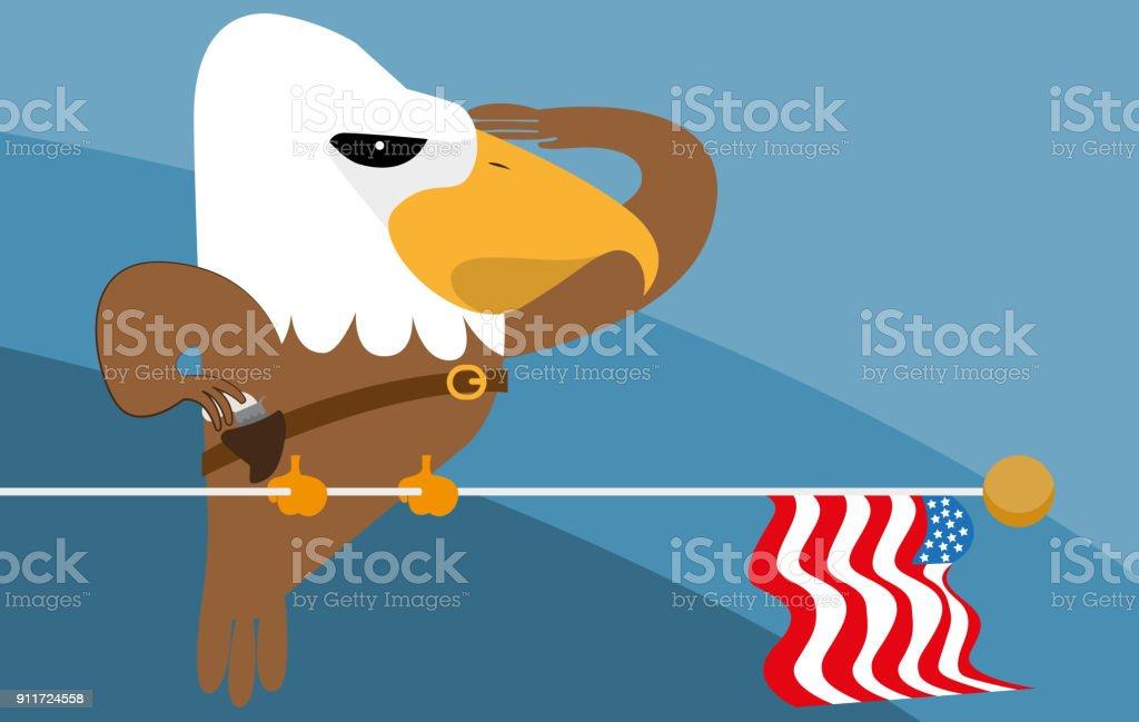 Patriotic eagle and his gun