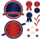 Set of shiny red, white, and blue medals, stickers, emblems with stars designs.  All with optional ribbons - USA Fourth of July, patriotic theme, or business. 6 stars designs and 2 check marks included, too. Mix layers or use as shown.