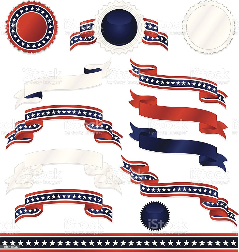 Patriotic Emblems, Ribbons, Stickers, Border Set - Red, White, Blue royalty-free stock vector art
