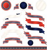 Set of shiny red, white, blue medals, stickers, ribbons with stars, border designs. USA Fourth of July, Britain, patriotic. Mixable layers.